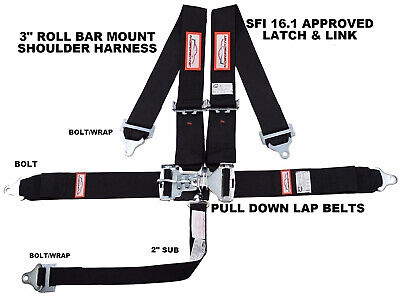 "Drag Racing 3"" Sfi 16.1 Latch & Link 5 Point Harness Belt Rdn Black"