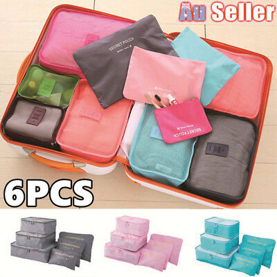 6pcs Packing Storage Cube Luggage Organizer Pouch Suitcase Cloth Sock Bag Travel