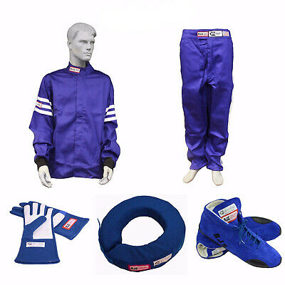Racerdirect.net Combo Pack Race Suit Rjs Suit Gloves Shoes Collar Blue