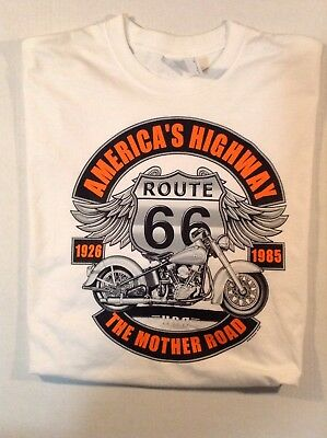 Route 66 Biker White Tshirt Made In The Usa