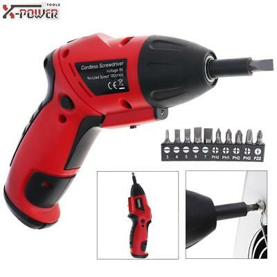 Mini 6V Electric Screwdriver Two Shape Cordless Battery Powered Tool LED+10 Bits
