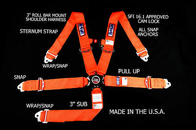 Rjs Racing Sfi 16.1 Cam Lock 5 Pt Harness Roll Bar Orange Sternum Strap