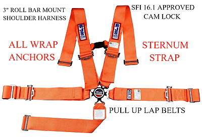 Rjs Racing Sfi 16.1 Cam Lock 5 Pt Harness Roll Bar Orange Chest Strap
