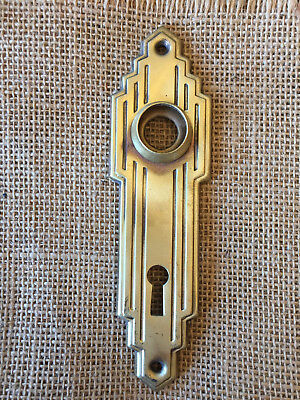 Antique Yellow Stamped Brass Door Plate Art Deco