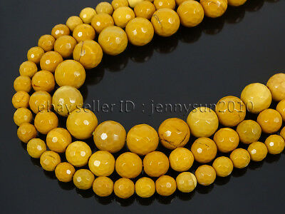 Natural Yellow Moukaite Jasper Gemstone Faceted Round Beads 15'' 6mm 8mm 10mm