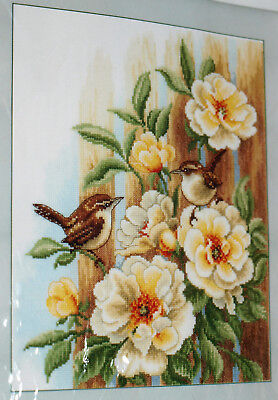 "Veraco Cross Stitch Kit WRENS ON ROSES 10.8""x13.2"" Counted Cross Stitch Kit NEW"