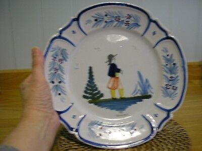 """Decorative French Faience (HB Quimper) plate. Approximately 9.1/2"""" across"""