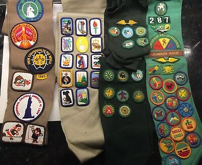 Lot of 5 Girl Scout & Brownie Sashes Vintage with 80 Badges Patches and 28 Pins