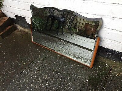 Vintage Beveled Edge Frameless Mirror Lovely Mirror Art Deco Wood Trim Mirror