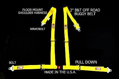 "Rjs Racing 2"" Buggy Off Road Seat Belt 4 Pt B&t Floor Harness Yellow Sand Rail"