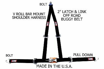 "Rjs Racing 2"" Buggy Off Road Seat Belt 3 Point V Harness Bolt In Black Sand Rail"