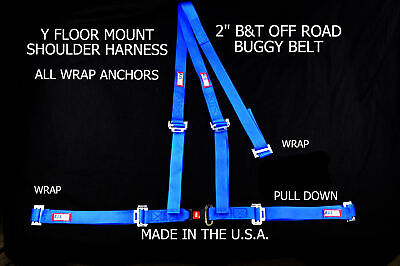 "Rjs Racing 2"" Buggy Off Road Seat Belt 3 Point B&t Y Harness Blue Vw Sand Rail"