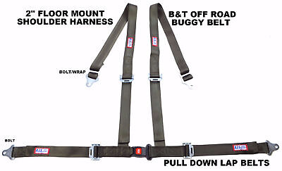 "Rjs Racing 2""buggy Off Road Seat Belt 4Pt B&t Floor Harness Od Green Sand Rail"
