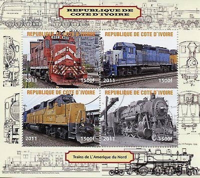 Ivory Coast 2011 CTO Trains of North America Steam Engines 4v M/S Rail Stamps