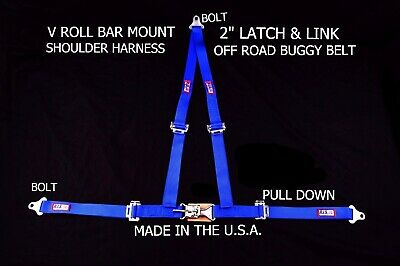 """Rjs Racing 2"""" Buggy Off Road Seat Belt 3 Point V Harness Bolt In Blue Sand Rail"""