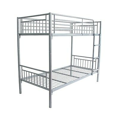 Montreal Single 3ft Twin Bunk Bed Metal Sleeper Sprung and Mattress Option