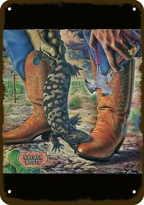 1982 NOCONA WESTERN BOOTS Vintage Look Replica Metal Sign - COWBOY &  LIZARD