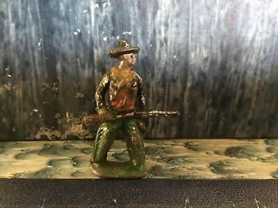 Vintage Lead Metal Toy Miniature Cowboy Wold West W/ Rifle