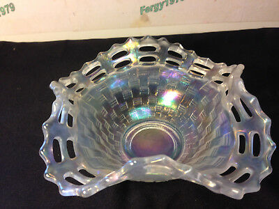 Fenton Open Edge White Carnival Glass Basketweave Square Bowl, Large Size