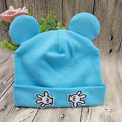 New Unisex Blue Baby Beanie Cotton Soft Cute Hat Fits Newborn -2Yr