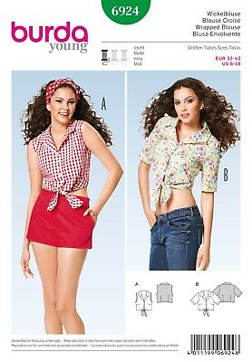 Burda 6924 Sewing Pattern Misses' Crop Tops Wrapped Blouses Button-up Ties 6-16