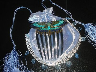 ~Titanic~Edwardian Style~Butterfly Hair Comb~In Blue Beaded/tassel Gift Bag~ New