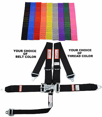"Your Pick Of Thread & Belt Color 3"" Latch & Link 5 Pt Roll Bar Racing Harness"