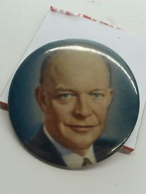 President DWIGHT IKE EISENHOWER Color Portrait Pin Button 1952-1956 Campaign