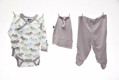 Kickee Pants Kimono Newborn Set w/ Elephant Gift Box Natural Desert Fox 3-6 mo