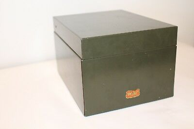 Vintage WEIS Industrial Green Metal File Index Card Recipe Box Made in USA