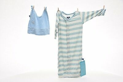 Kickee Pants Boy Desert Stripe Gown and Knot Hat Set 18-24 m