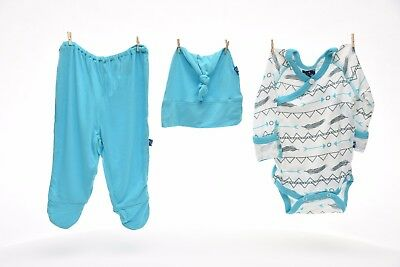 Kickee Pants Kimono Newborn Gift Set w/ Elephant Gift Box Natural Southwest 0-3m