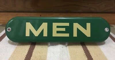 Vintage Antique MEN Porcelain Sign Restroom Bathroom Gas Station Wall Boy 3