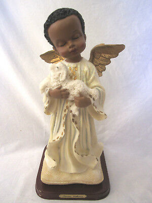 """NEW Vtg Precious Collection Guardian Angel Holding Sheep Ceramic Statue Boy 13"""""""