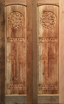 """RUSTIC SOLID wood hand carved door 60 X 96 pre hung jamb and threshold 2"""" thick"""