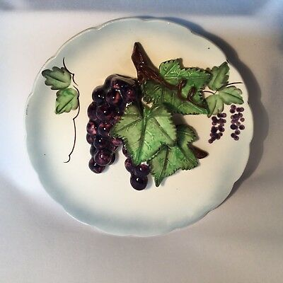 Vintage Ceramic Hand Painted Plate Wall Hanging Decoration Applied Grapes Leaves