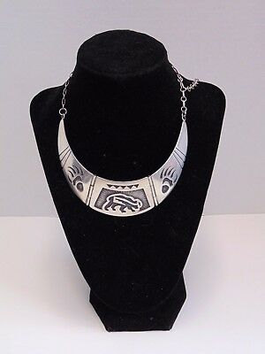 Vintage Authentic Hopi Overlay designed Sterling Silver Plate & Chain Necklace