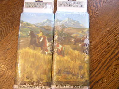Brewster Set of 2 WESTERN ROUND~UP Wallpaper Border w/ Cowboys Horses Cattle~NIP