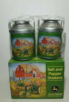 John Deere Salt and Pepper Shakers Milk Can Tin  (NEW)