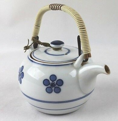 Small Vintage Chinese White and Blue Floral Porcelain Teapot