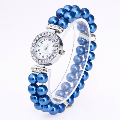 Fashion Casual Ladies Womens Watch Pearl String Band Analog Quartz Wrist Watch