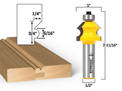 "Bevel & Bead Wainscoting Router Bit - 1/2"" Shank - Yonico 13111"