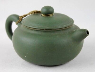 Small Vintage Chinese Green Ceramic Pottery Teapot