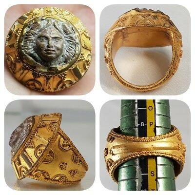 Gold Gilding Old Wonderful Bronze coin Lovely Ring   # A