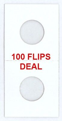 100 2x2 Coin Flips For US CENT/PENNY Mylar Window High Quality Cardboard Holders
