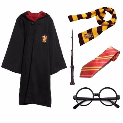 Harry Potter Gryffindor Robe Cloak +Scarf+Tie+Glass+Wand Adult Kid Costume Cape