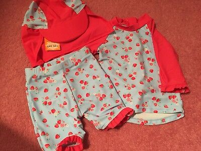Baby Girls Swimsuit With Hat 9-12 Months Asda George- Strawberries Sunsuit