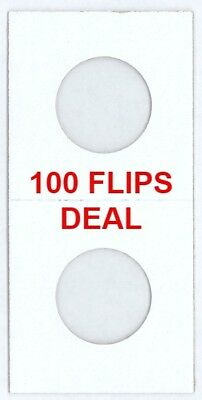 100 2x2 Coin Cardboard Flips For US Quarter Mylar Window High Quality Holders
