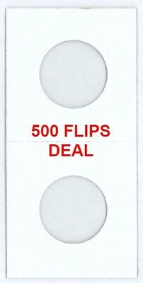 500 2x2 Coin Cardboard Flips For US Quarter Mylar Window High Quality Holders