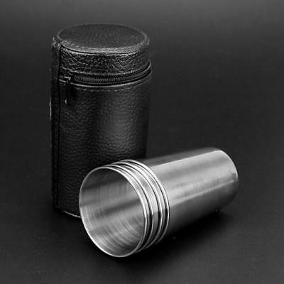 4PCS Stainless Steel Camping Cups Mug Shot Cover Case Coffee Beer Tumbler Z